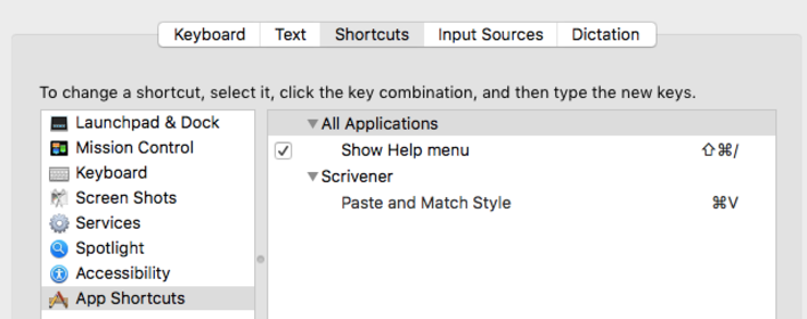 Setting Paste and Match Style as default in Scrivner on OSX